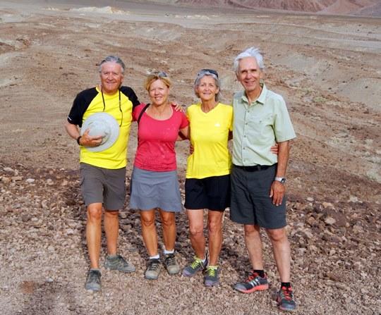 Daniel, les Lise et moi à Artist Palet, dans la Vallée de la Mort.