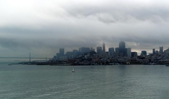 La ville vue de la prison d'Alcatraz.